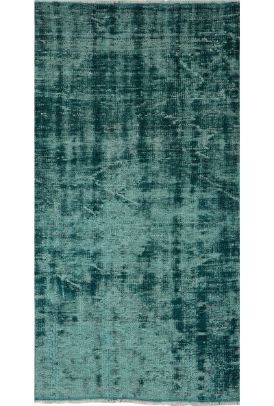 Grand Hedef Halı Koyu Turkuaz Renk Vintage El Dokuma Halısı 80 x 150 cm