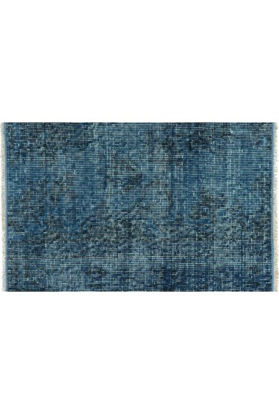 Grand Hedef Halı Mavi Renk El Dokuma Vintage Paspas 45 x 70 cm