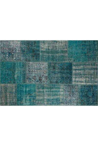 Grand Hedef Halı Mavi Renk Patchwork El Dokuma Halısı 120 x 180 cm