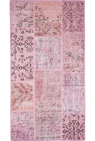 Grand Hedef Halı Pembe Renk Patchwork El Dokuma Halısı 80 x 150 cm
