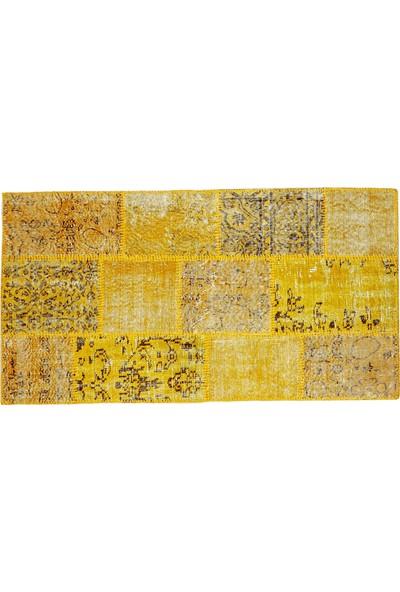 Grand Hedef Halı Sarı Renk Patchwork El Dokuma Halısı 80 x 150 cm