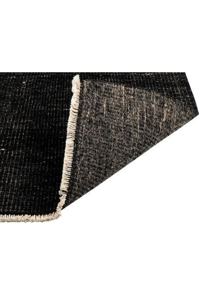 Grand Hedef Halı Siyah Renk El Dokuma Vintage Paspas 45 x 70 cm