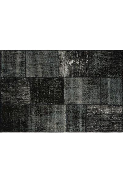 Grand Hedef Halı Siyah Renk Patchwork El Dokuma Halısı 120 x 180 cm
