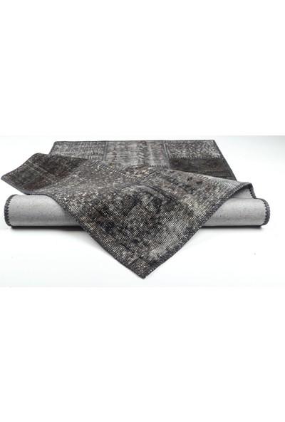 Grand Hedef Halı Siyah Renk Patchwork El Dokuma Halısı 80 x 150 cm
