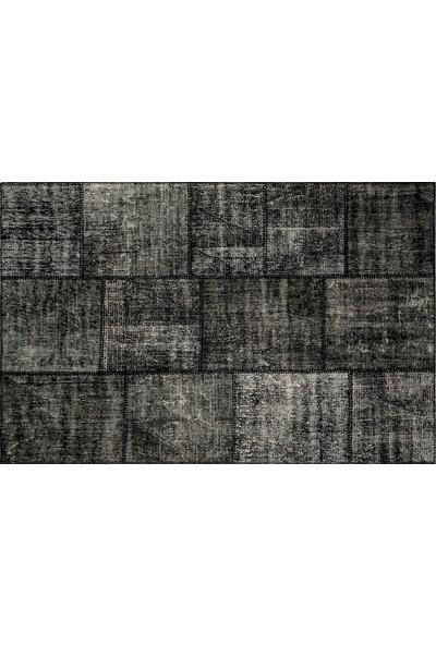 Grand Hedef Halı Siyah Renk Patchwork El Dokuma HALISI-120 x 180 cm