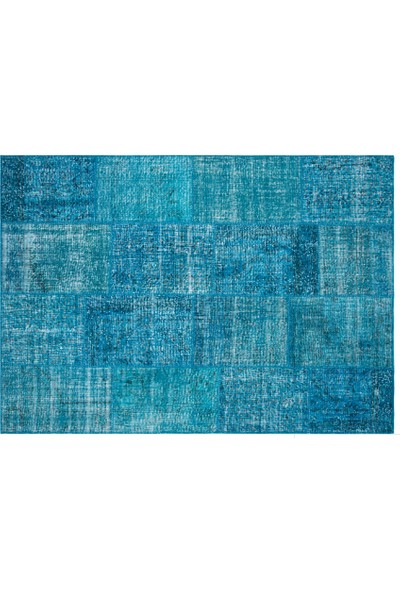 Grand Hedef Halı Turkuaz Renk Patchwork El Dokuma Halı 170 x 240 cm