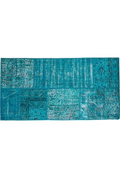 Grand Hedef Halı Turkuaz Renk Patchwork El Dokuma Halısı 80 x 150 cm