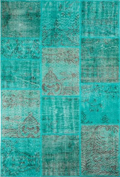 Grand Hedef Halı Turkuaz Renk Patchwork El Dokuma HALISI-120 x 180 cm