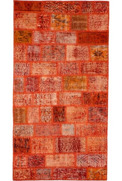 Grand Hedef Halı Turuncu Renk Patchwork El Dokuma Halısı 80 x 150 cm