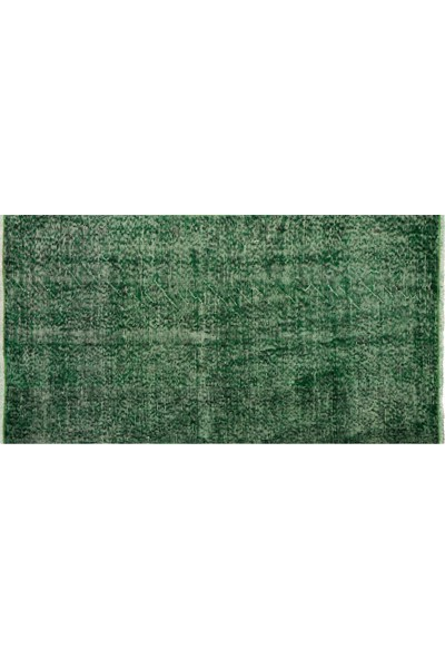 Grand Hedef Halı Yeşil Renk Vintage El Dokuma Halısı 80 x 150 cm