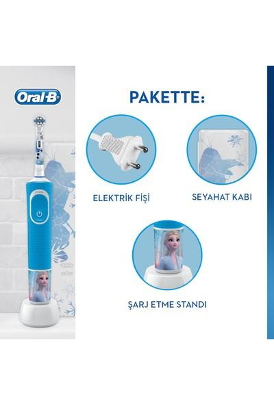 Oral-B Çocuklar İçin Şarj Edilebilir Diş Fırçası D100 Vitality Frozen Özel Seri + Seyahat Kabı