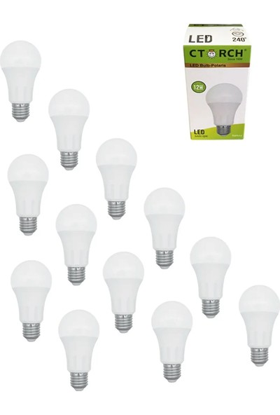 Ctorch LED Ampul 12W Sarı Işık E27 3000K 12'li Set