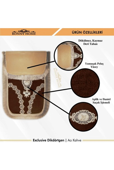 Bonny Home Exclusive Köşeli Kahve 2'li Klozet Takımı Çeyizlik Banyo Halısı Paspası Seti