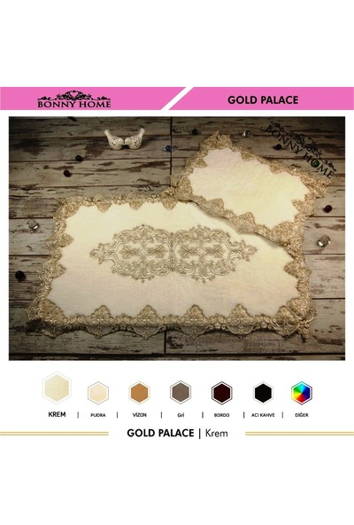 Bonny Home Gold Palace Krem 2'li Dantelli Klozet Takımı Çeyizlik Banyo Halısı Paspası Seti
