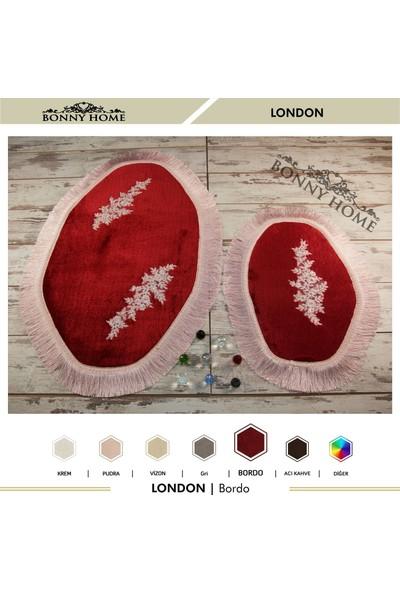 Bonny Home London Bordo 2'li Dantelli Klozet Takımı Çeyizlik Banyo Halısı Paspası Seti