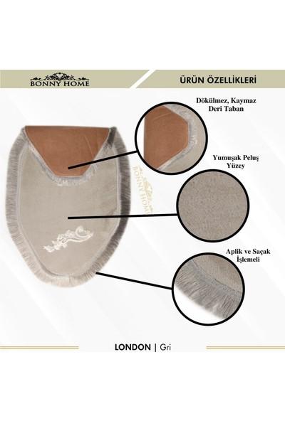 Bonny Home London Gri 2'li Dantelli Klozet Takımı Çeyizlik Banyo Halısı Paspası Seti