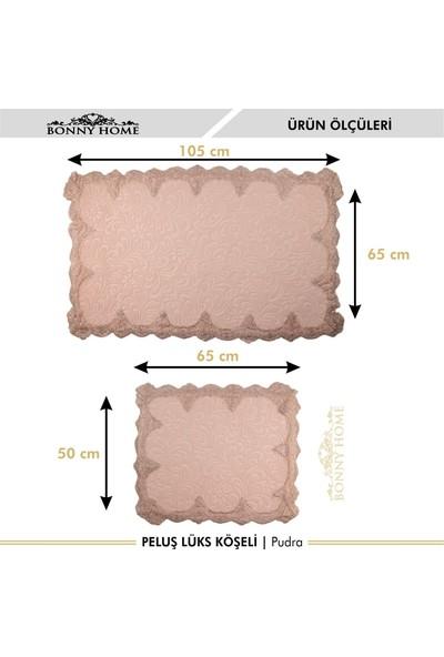 Bonny Home Peluş Lux Köşeli Pudra 2'li Dantelli Klozet Takımı Çeyizlik Banyo Halısı Paspası Seti