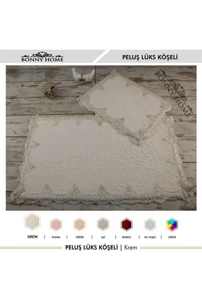 Bonny Home Peluş Lux Köşeli Krem 2'li Dantelli Klozet Takımı Çeyizlik Banyo Halısı Paspası Seti