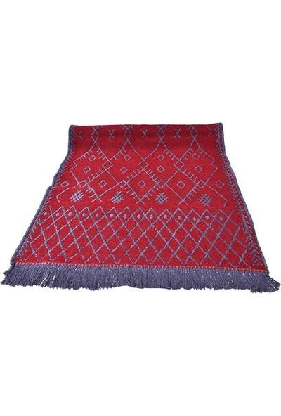 Kustulli Lüks Şolin Kilim 70x140 Çift Taraflı Kırmızı-Gri (K0009)