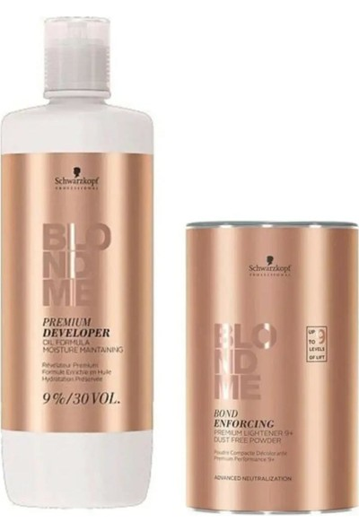 Schwarzkopf Blondme Premium Lift+9 Açıcı 450 gr + Oksidan %9 30 Volume 1000 ml