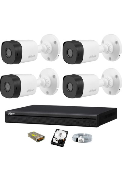 Dahua 4 Kameralı Güvenlik Sistemi Dış-Mekan-Hdd-Jack-Bnc-Konnektör Proje Kamera