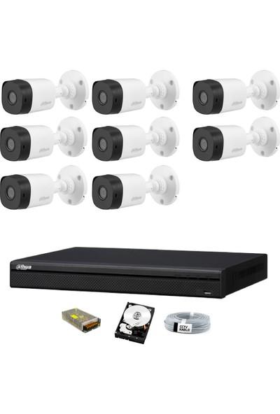 Dahua 8 Kameralı Güvenlik Sistemi Dış-Mekan-Hdd-Jack-Bnc-Konnektör Proje Kamera