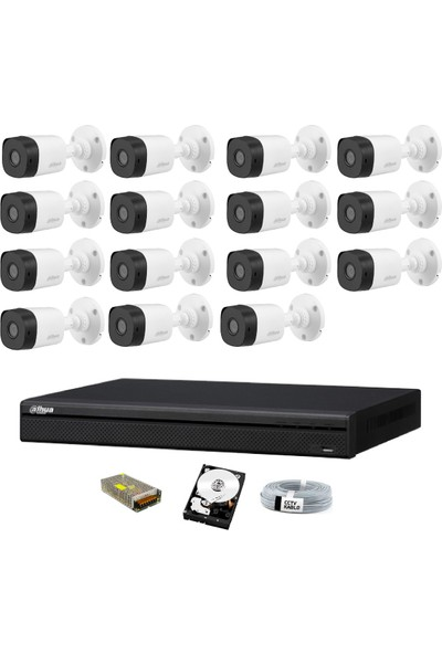 Dahua 15 Kameralı Güvenlik Sistemi Dış-Mekan-Hdd-Jack-Bnc-Konnektör Proje Kamera