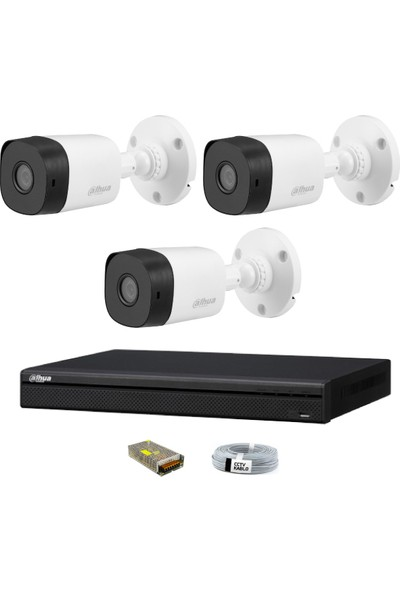 Dahua 3 Kameralı Güvenlik Sistemi Dış-Mekan-Jack-Bnc-Konnektör Proje Kamera
