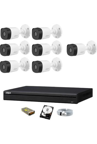Dahua 7 Kameralı Güvenlik Sistemi Dış-Mekan-Hdd-Jack-Bnc-Konnektör Proje Kamera