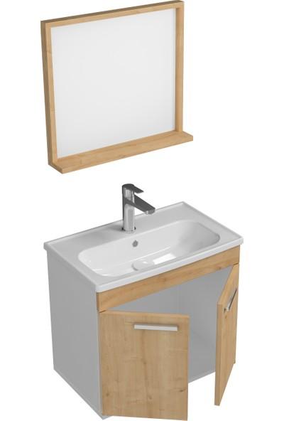 Ece Banyo Rubino Banyo Dolabı Beyaz - Meşe 60 cm