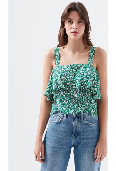 Mavi Baskılı Yeşil Bluz
