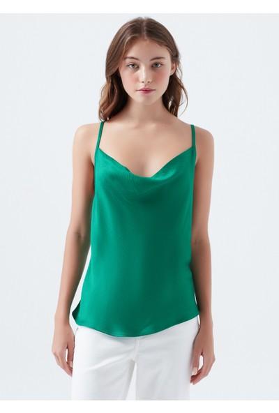 Mavi Kolsuz Yeşil Bluz