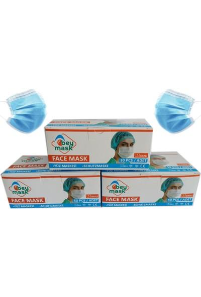 Bey Mask 3 Katlı Full Ultrasonik Telli Meltblown Kumaş Cerrahi Maske 50'li 3 Kutu