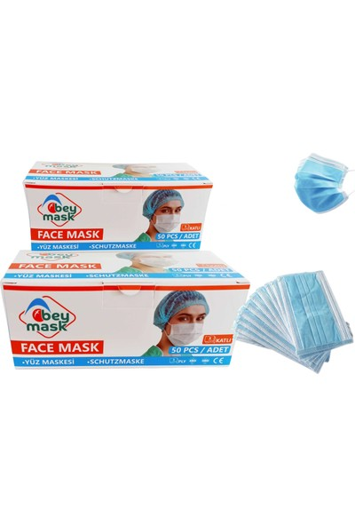 Beymask 3 Katlı Full Ultrasonik Telli Meltblown Kumaş Cerrahi Maske 50'li 2 Kutu