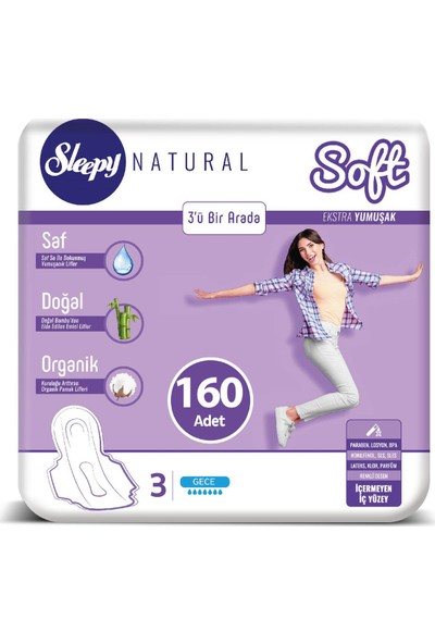Sleepy Natural Soft Ekstra Yumuşak Gece 32 x 5 Ped