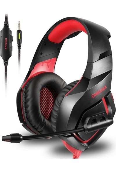 Onikuma K18 LED Işıklı Mikrofonlu Kulaklık Kırmızı