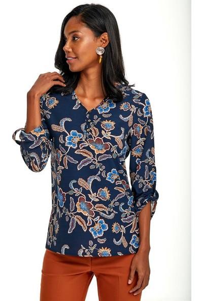 İkiler Yakası Düğmeli Kolları Apoletli Desenli Bluz 020-3009