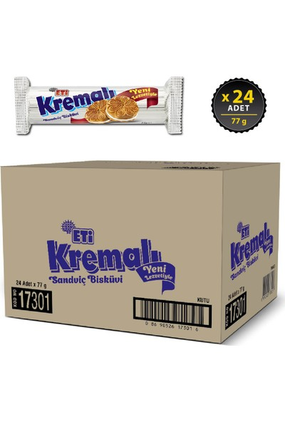 Eti Kremalı Bisküvi 77 g x 24 Adet