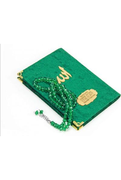 İhvan 10 Adet Özel Hediyelik Kutulu - 99'lu Kristal Görünümlü Parlak Tesbihli - Özel İsimli Çanta Boy Kadife Yasin Kitabı - Yeşil - 1132