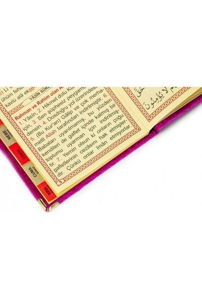 İhvan 20 Adet Kadife Kaplı Yasin Kitabı - Tül Keseli - İsme Özel Plakalı - Tesbihli - Fuşya