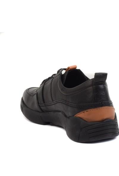 Freefoot - Siyah Deri Erkek Günlük Ayakkabı