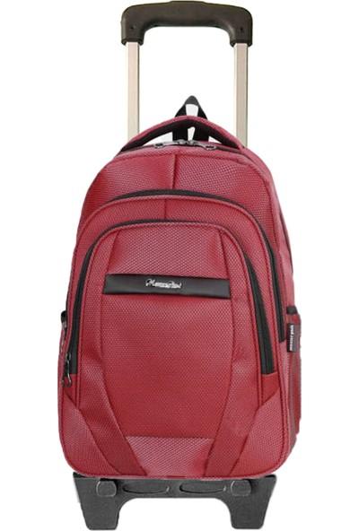 Entegre Çekçekli Okul Çantası Seyahat USB Kablo Girişli Lise Ortaokul Model 630 Bordo