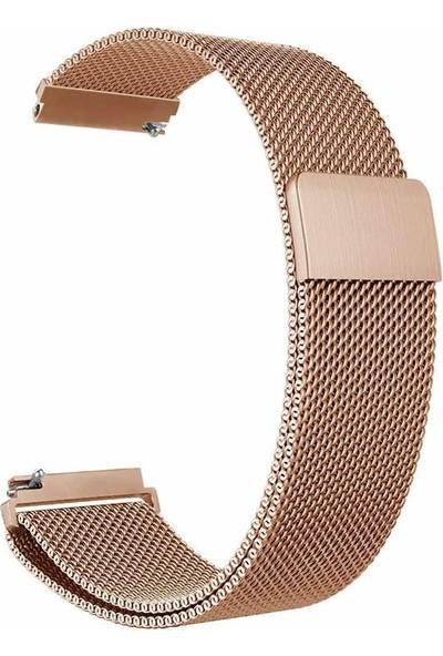 Gpack Samsung Galaxy Watch Active 2 40mm Kordon Hasır Metal Örgülü Bronz