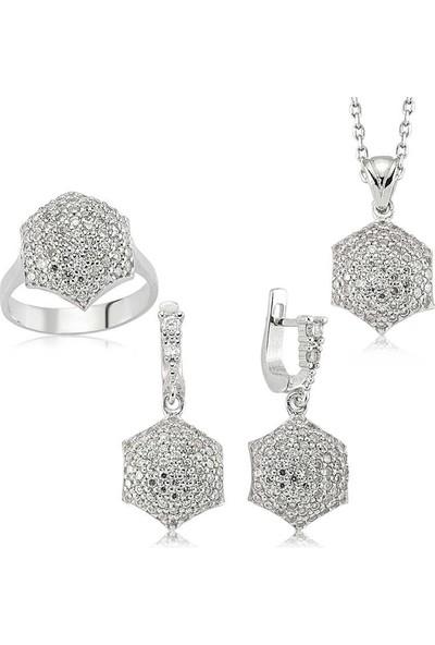Beyazıt Takı Gümüş Zirkon Taşlı Kadın Set