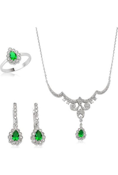 Beyazıt Takı Gümüş Yeşil Taşlı Damla Kadın Set