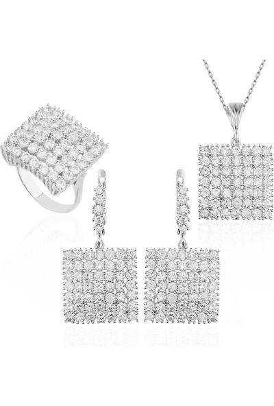 Beyazıt Takı Gümüş Zirkon Taşlı Kare Set