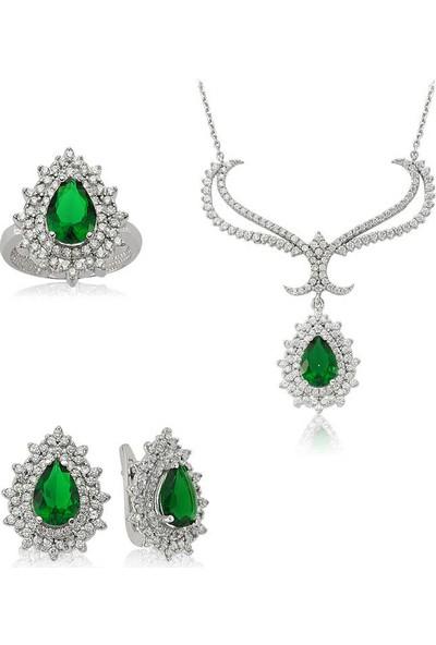 Beyazıt Takı Gümüş Yeşil Taşlı Kadın Set