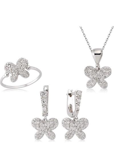 Beyazıt Takı Gümüş Kelebek Kadın Set