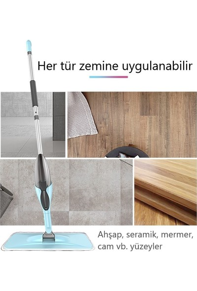 Hayad Home Yeni Nesil Mikrofiber Sprey Mop + Bez Temizleme Fırçası