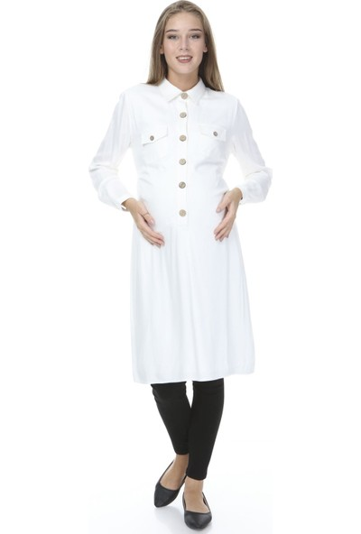 Entarim Düğme Detaylı Hamile Elbise-Tunik Ekru S